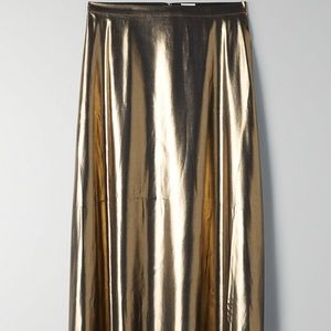 Aritzia Wilfred Gold Foil Slip Style Midi Skirt